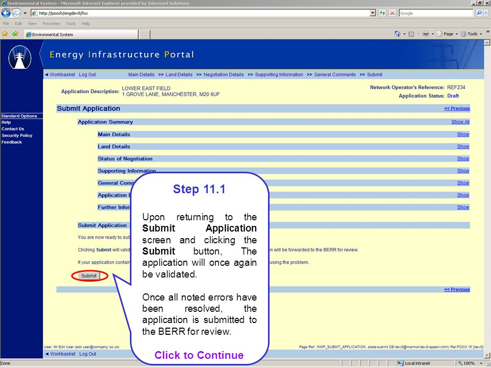 Step 11.1 Upon returning to the Submit Application screen and clicking the Submit button, The application will once again be validated.