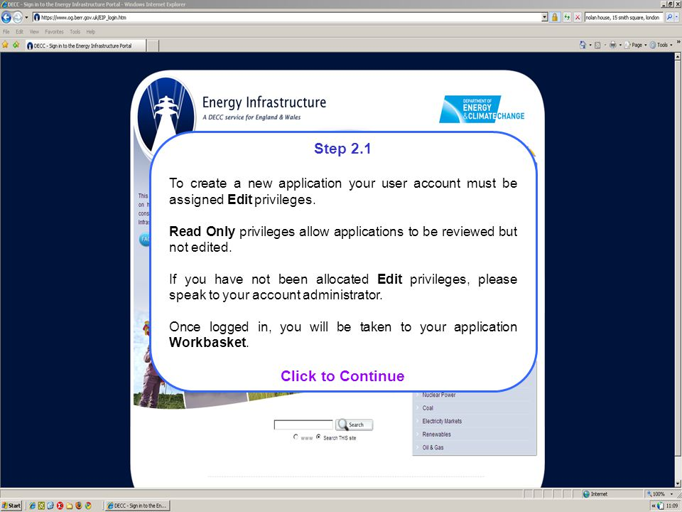 Step 2.1 To create a new application your user account must be assigned Edit privileges.