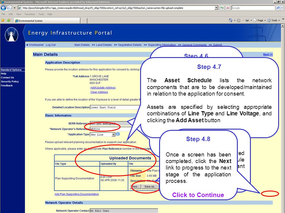 Step 4.6 You may alter your business contact address, for the application by clicking the Add/Update Address link.