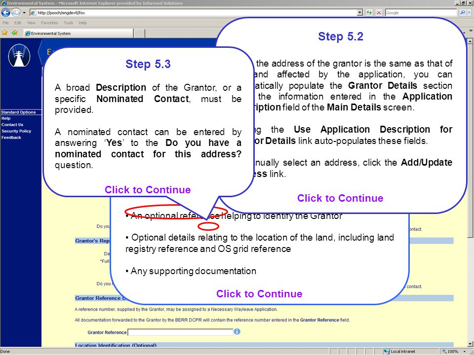 Step 5.1 The Land Details screen is used to capture information relating to the land affected by the application for consent.