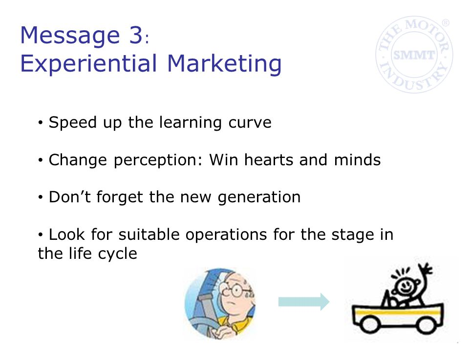 Message 3 : Experiential Marketing Speed up the learning curve Change perception: Win hearts and minds Don't forget the new generation Look for suitable operations for the stage in the life cycle