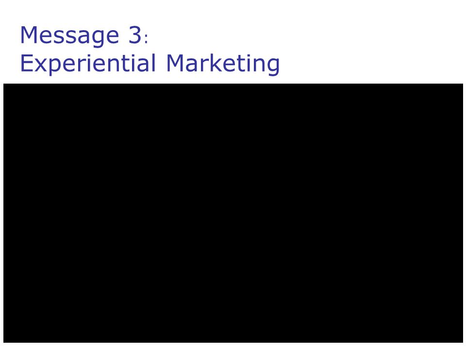 Message 3 : Experiential Marketing
