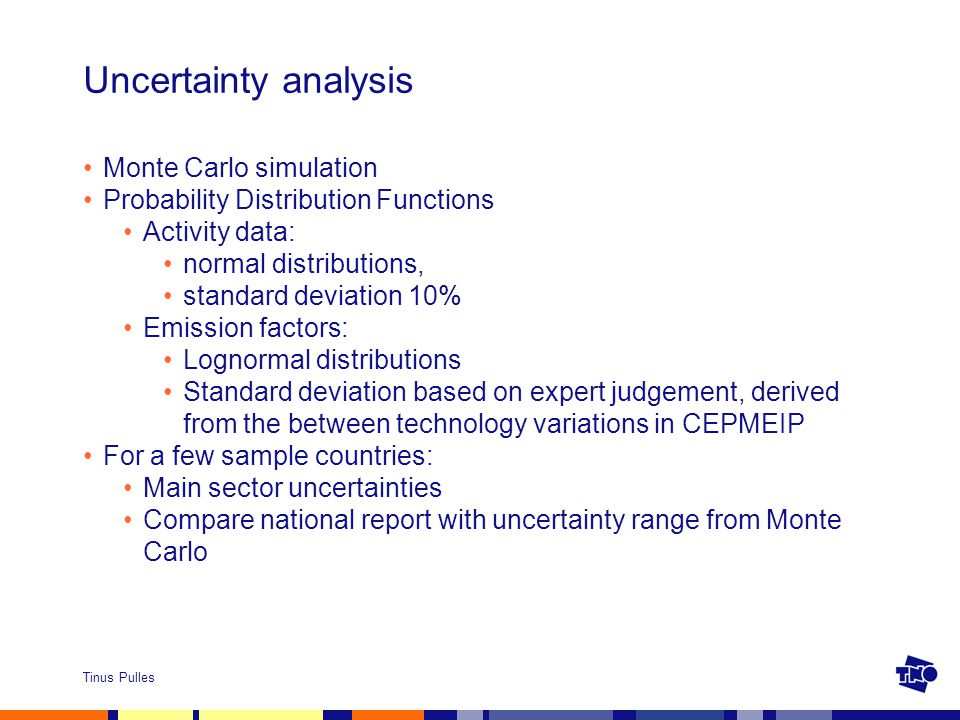 Tinus Pulles Uncertainty analysis Monte Carlo simulation Probability Distribution Functions Activity data: normal distributions, standard deviation 10% Emission factors: Lognormal distributions Standard deviation based on expert judgement, derived from the between technology variations in CEPMEIP For a few sample countries: Main sector uncertainties Compare national report with uncertainty range from Monte Carlo