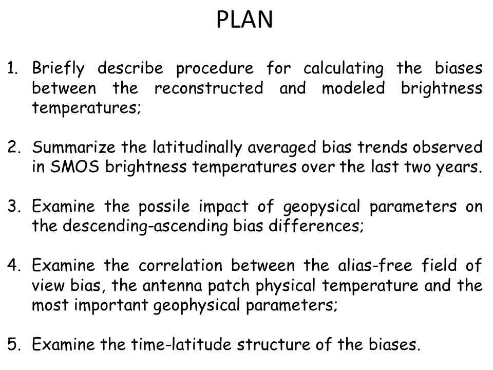A LOOK AT THE BIAS TRENDS Having established the method used to evaluate the bias between the reconstructed and model brightness temperatures in the instrument polarization basis (Tx,Ty,Uxy,Vxy), we now move on to present the biases for both the most recent ESA reprocessing campaign, which employed the '1-slope' loss model, and the 'calibrated L1' method recently proposed.