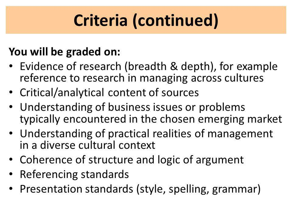 You will be graded on: Evidence of research (breadth & depth), for example reference to research in managing across cultures Critical/analytical conte