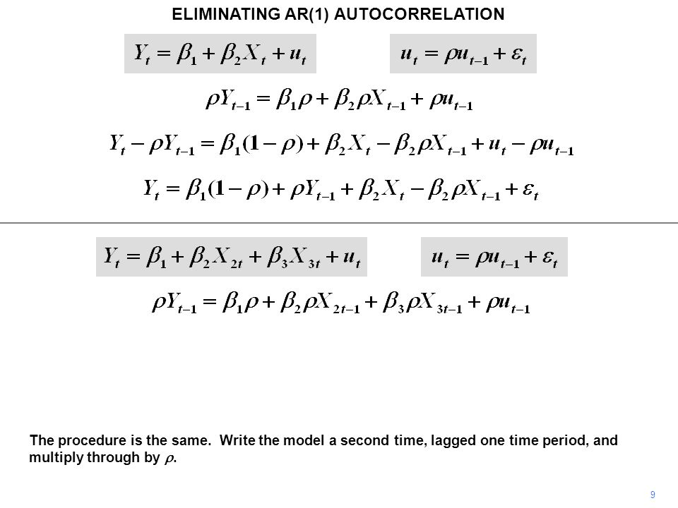 ELIMINATING AR(1) AUTOCORRELATION 9 The procedure is the same. Write the model a second time, lagged one time period, and multiply through by .