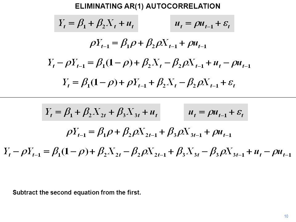 ELIMINATING AR(1) AUTOCORRELATION 10 Subtract the second equation from the first.