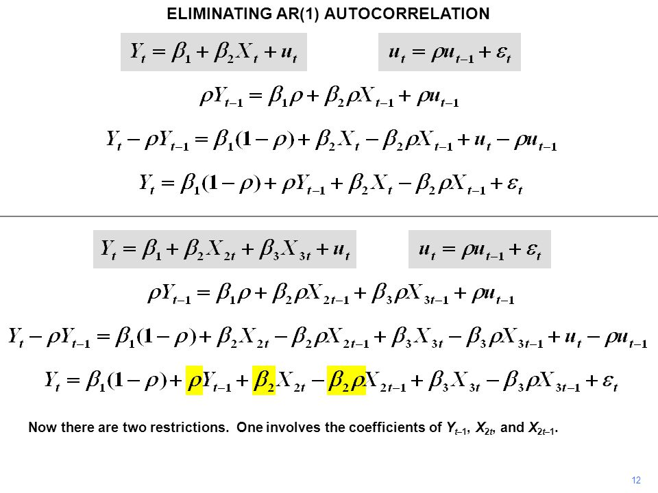 ELIMINATING AR(1) AUTOCORRELATION 12 Now there are two restrictions.