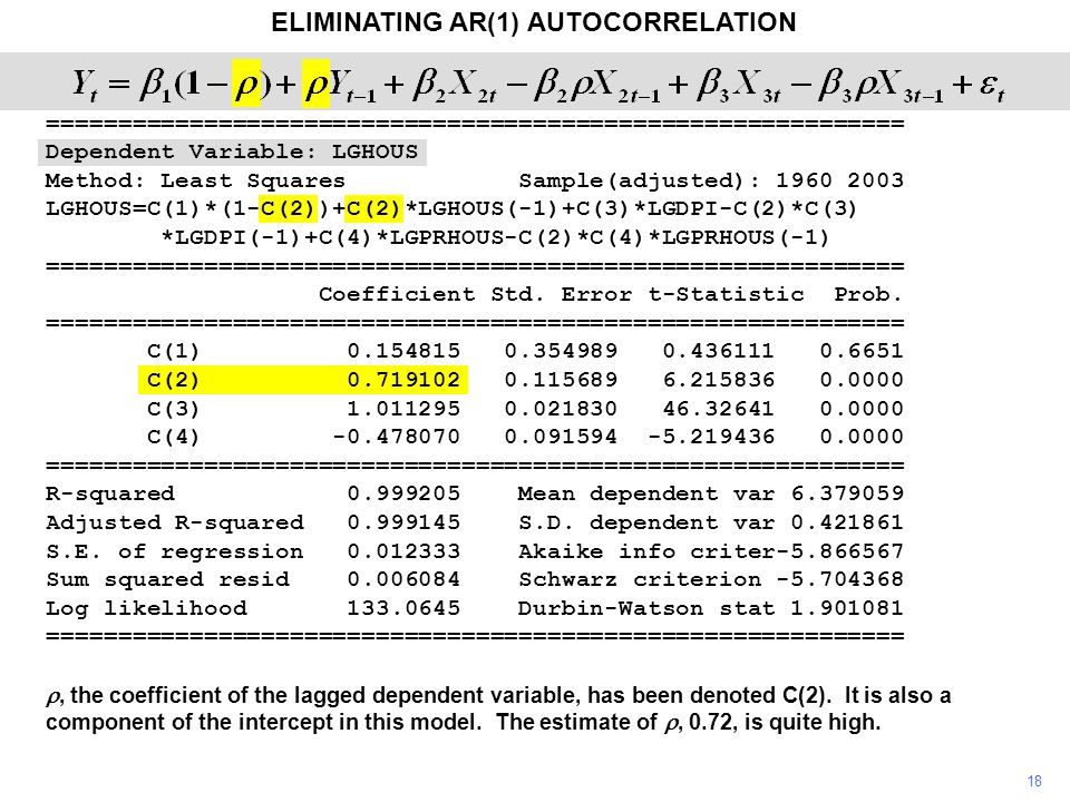 18 ELIMINATING AR(1) AUTOCORRELATION , the coefficient of the lagged dependent variable, has been denoted C(2).