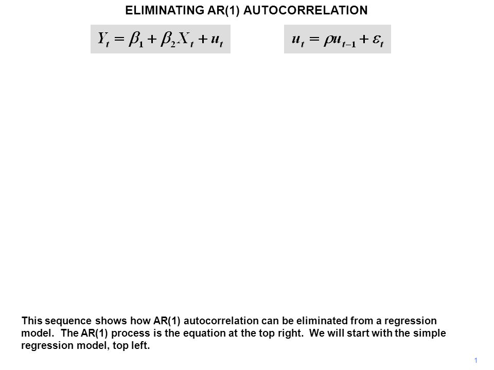 22 ELIMINATING AR(1) AUTOCORRELATION The coefficient of lagged price must then be specified as –C(2)*C(4).