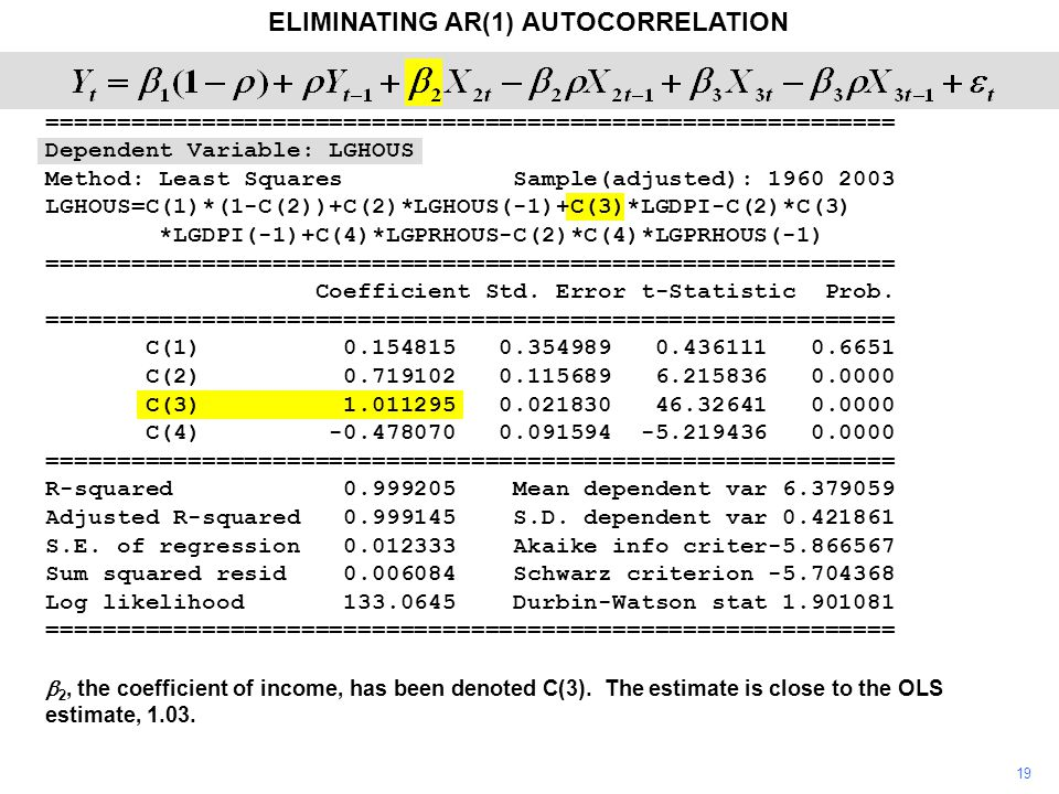 19 ELIMINATING AR(1) AUTOCORRELATION  2, the coefficient of income, has been denoted C(3). The estimate is close to the OLS estimate, 1.03. =========