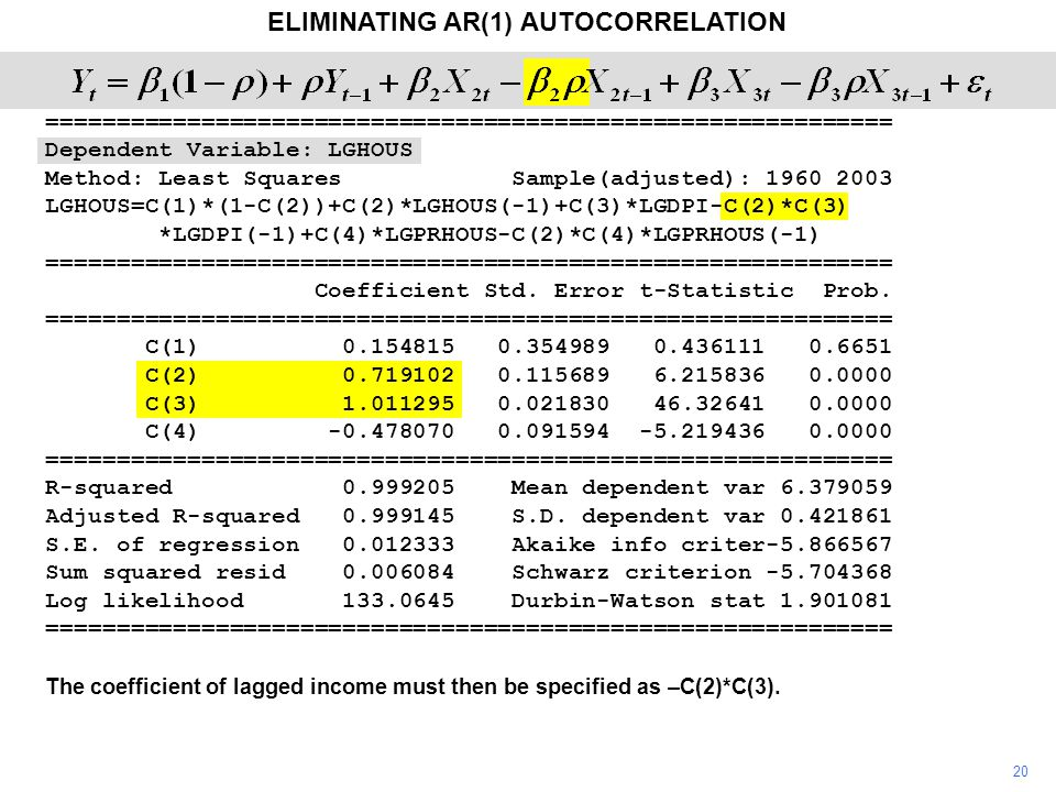20 ELIMINATING AR(1) AUTOCORRELATION The coefficient of lagged income must then be specified as –C(2)*C(3). ==========================================