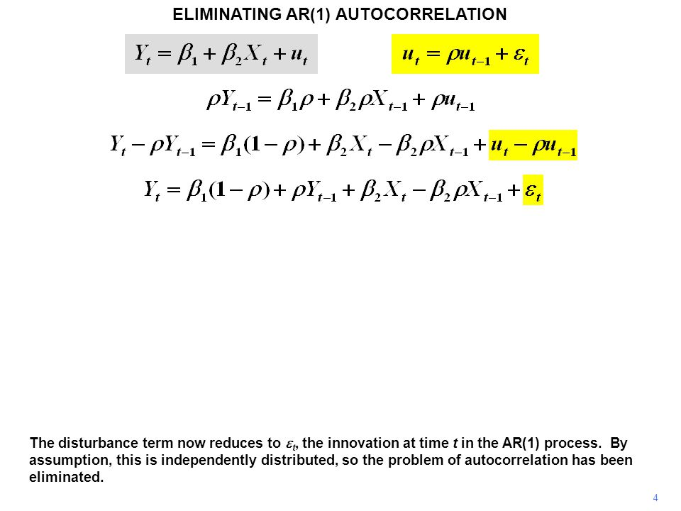 ELIMINATING AR(1) AUTOCORRELATION 4 The disturbance term now reduces to  t, the innovation at time t in the AR(1) process.