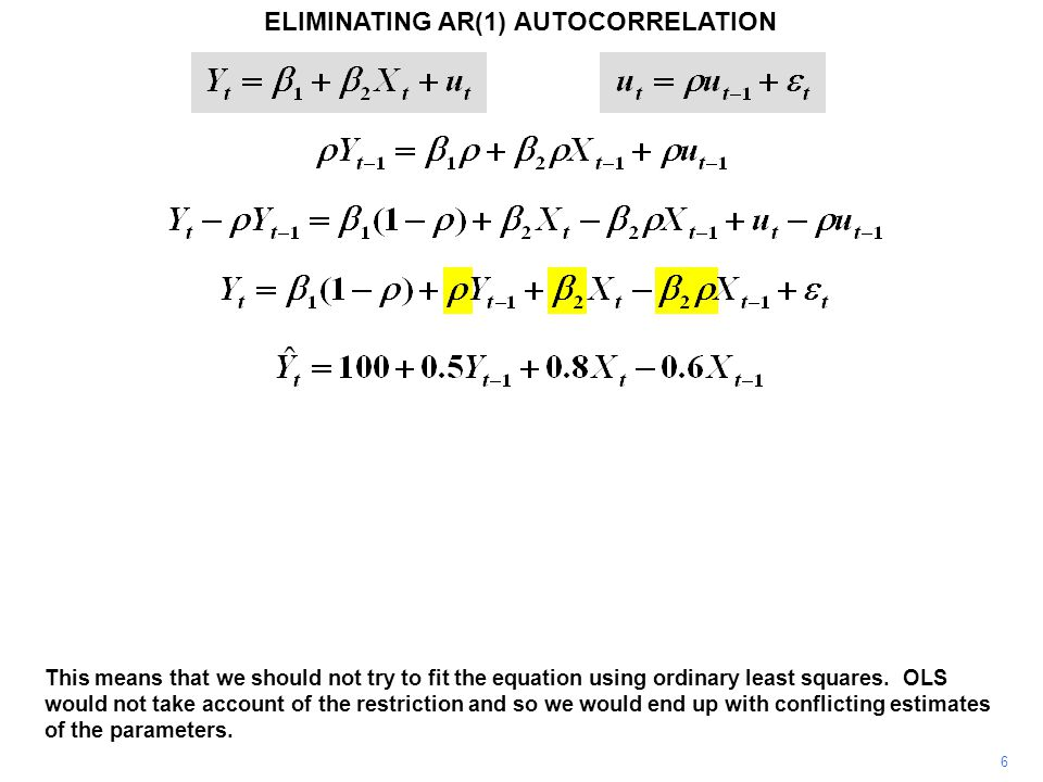 ELIMINATING AR(1) AUTOCORRELATION 6 This means that we should not try to fit the equation using ordinary least squares.
