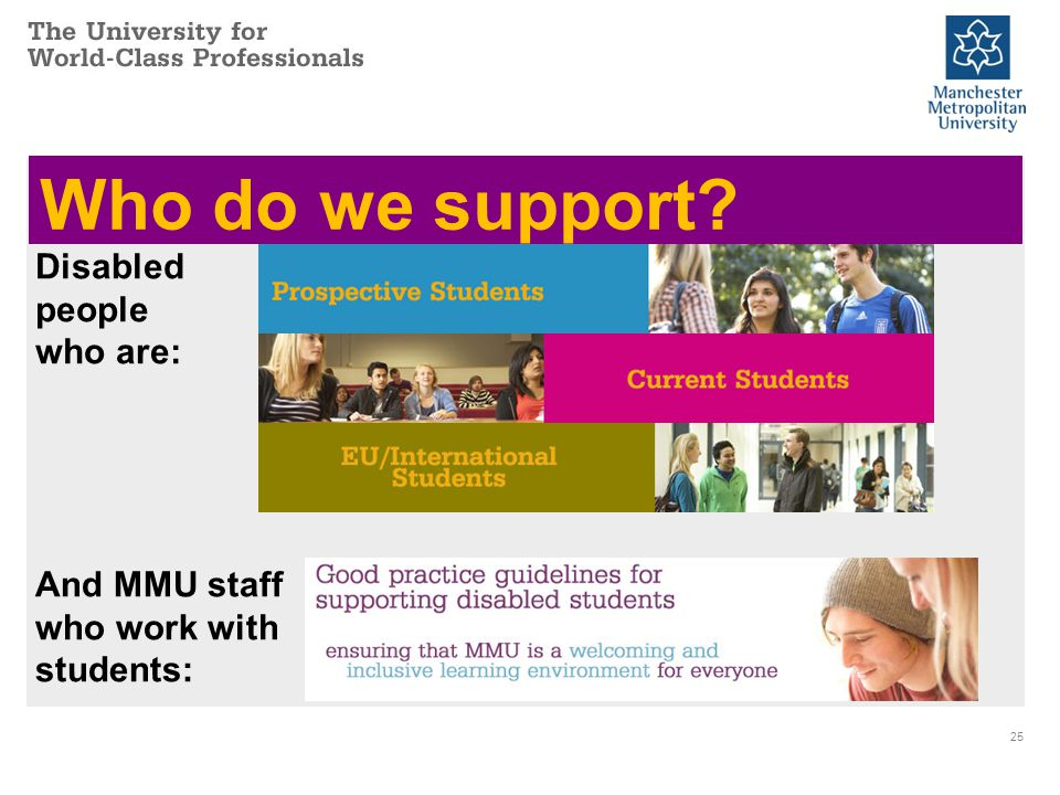 Who do we support 25 And MMU staff who work with students: Disabled people who are: