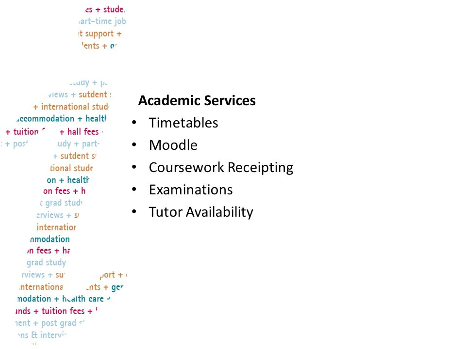 General Information Accommodation Careers and Employability Counselling, Health and Wellbeing Health Care Information IT Support Library Password Resets Sport Facilities Students Union