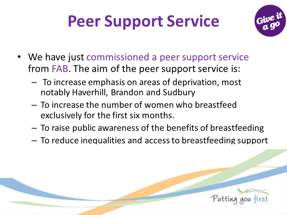 Peer Support Service We have just commissioned a peer support service from FAB. The aim of the peer support service is: – To increase emphasis on area