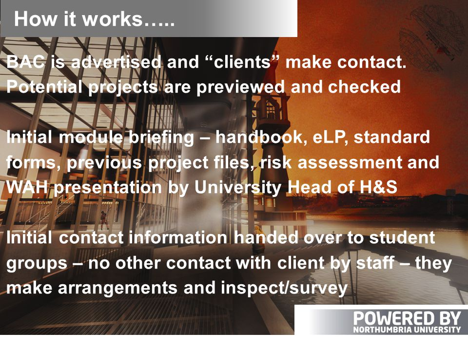How it works….. BAC is advertised and clients make contact.