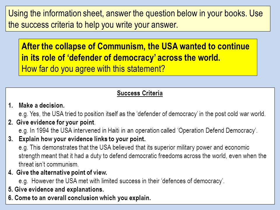 Using the information sheet, answer the question below in your books.