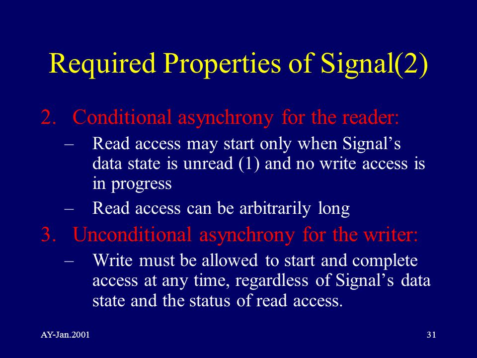 AY-Jan.200131 Required Properties of Signal(2) 2.Conditional asynchrony for the reader: –Read access may start only when Signal's data state is unread (1) and no write access is in progress –Read access can be arbitrarily long 3.Unconditional asynchrony for the writer: –Write must be allowed to start and complete access at any time, regardless of Signal's data state and the status of read access.