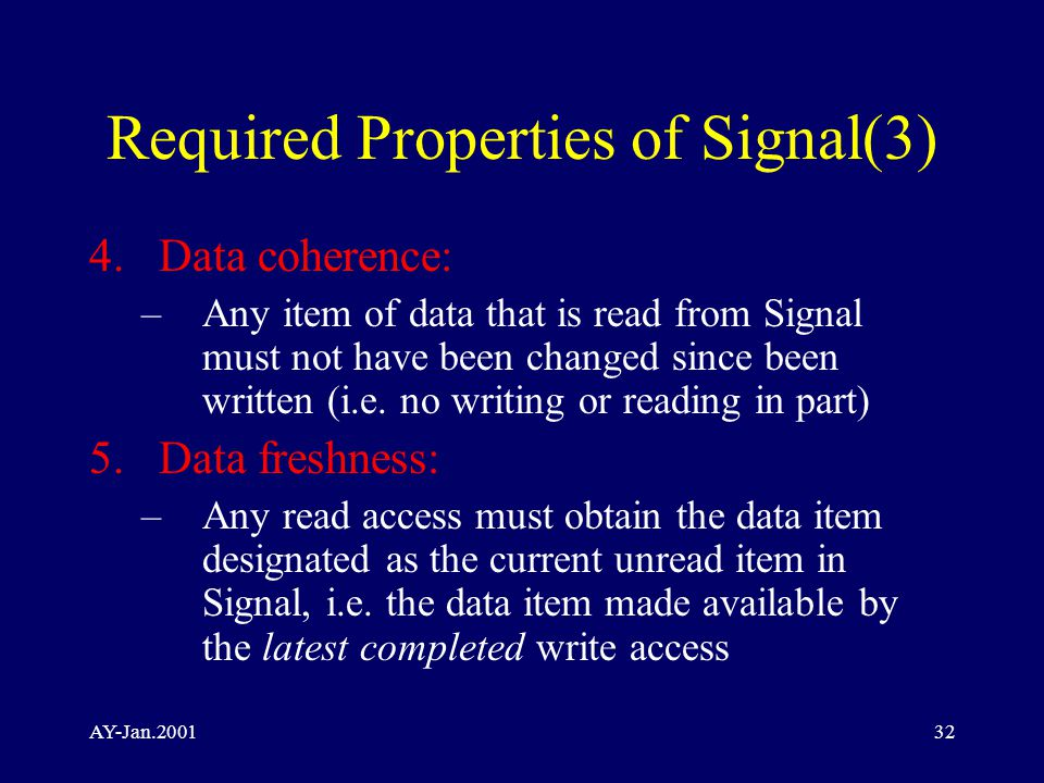 AY-Jan.200132 Required Properties of Signal(3) 4.Data coherence: –Any item of data that is read from Signal must not have been changed since been written (i.e.