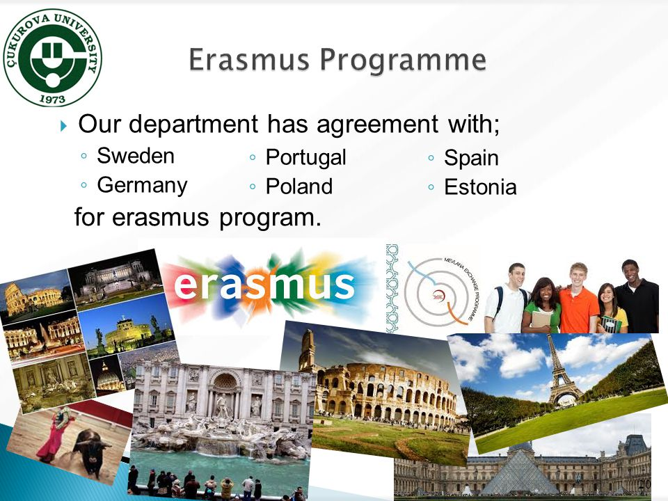  Our department has agreement with; ◦ Sweden ◦ Germany 20 ◦ Portugal ◦ Poland ◦ Spain ◦ Estonia for erasmus program.
