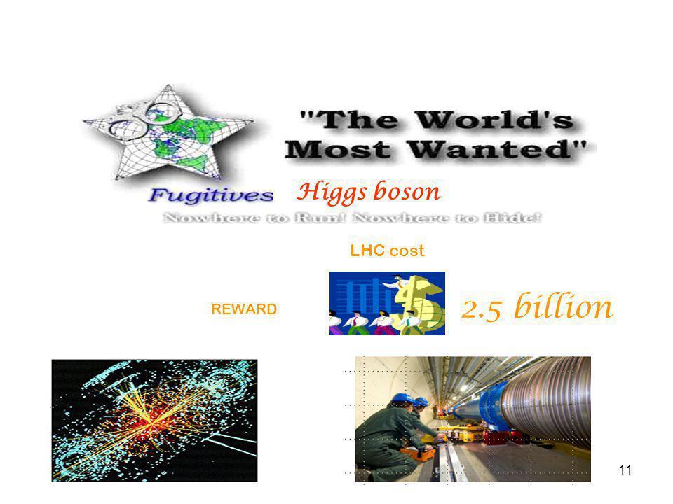 11 Higgs boson REWARD 2.5 billion LHC cost