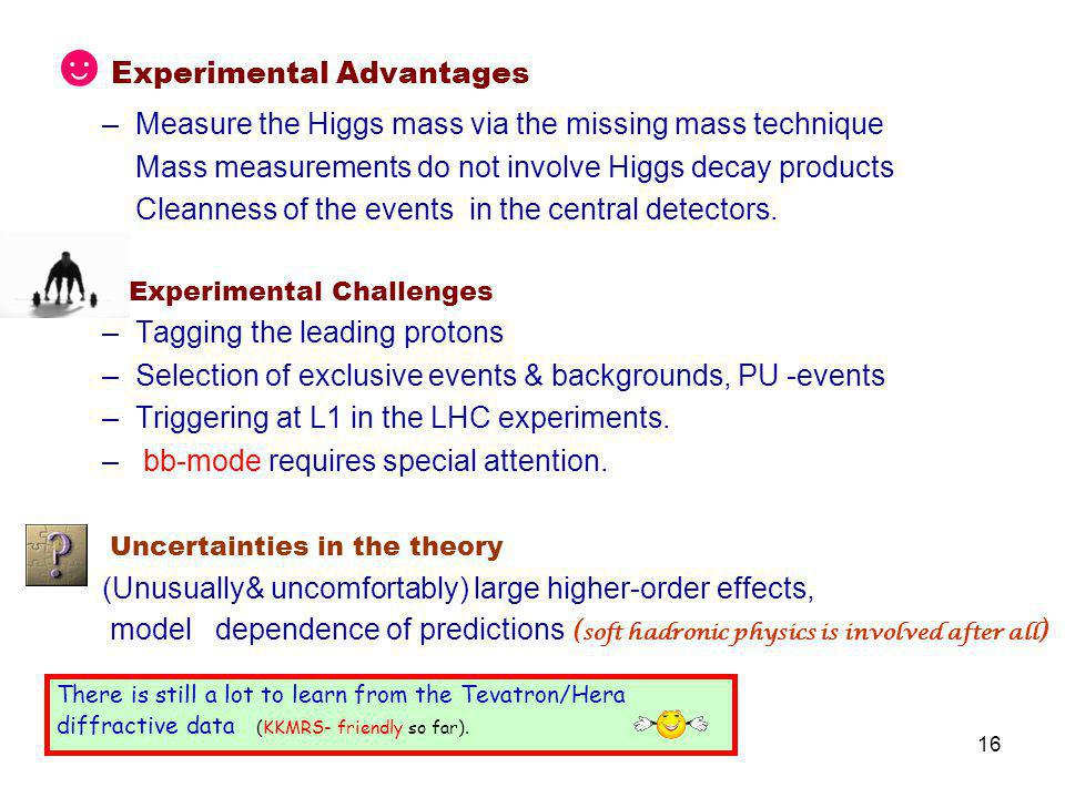 16 ☻ Experimental Advantages –Measure the Higgs mass via the missing mass technique Mass measurements do not involve Higgs decay products Cleanness of the events in the central detectors.