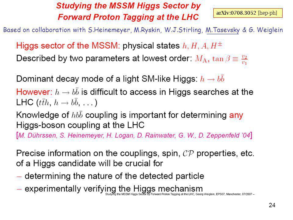 24 Based on collaboration with S.Heinemeyer, M.Ryskin, W.J.Stirling, M.Tasevsky & G.
