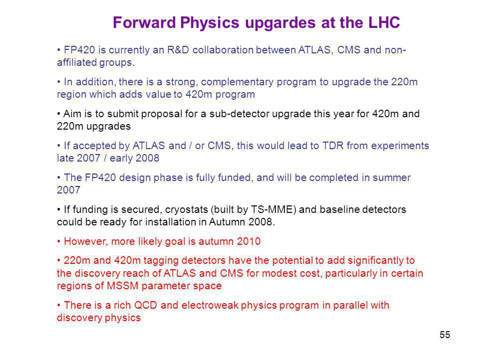 55 Forward Physics upgardes at the LHC FP420 is currently an R&D collaboration between ATLAS, CMS and non- affiliated groups.