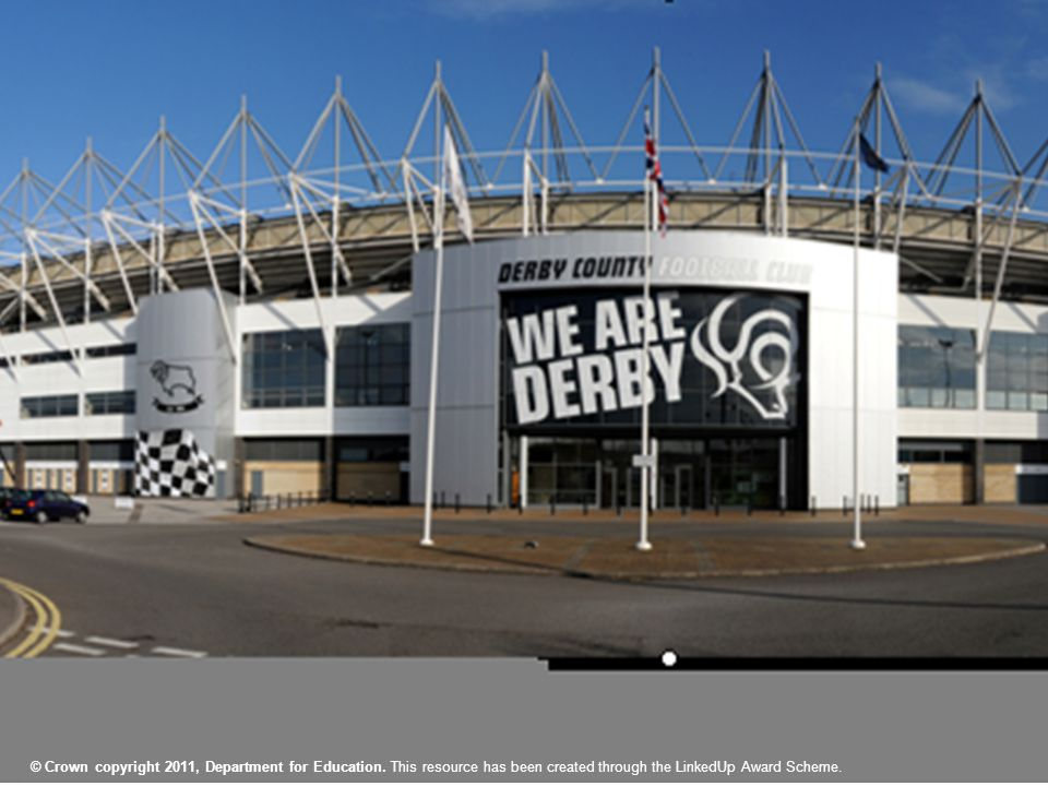 Derby County Language Club On va au stade 1.le stade 2.le terrain 3.le parking 4.les toilettes 5.le magasin 6.le vestiaire 7.le guichet 8.le tunnel 9.la tribune 10.l'écran 11.le café Associez les mots et les images © Crown copyright 2011, Department for Education.