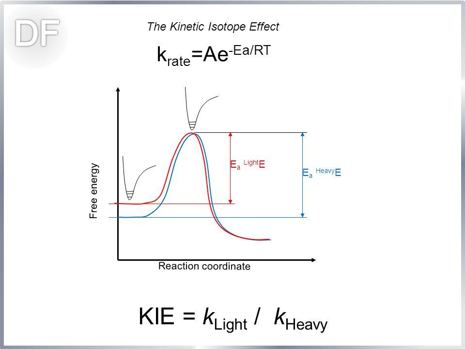 The Kinetic Isotope Effect k rate =Ae -Ea/RT Free energy Reaction coordinate E a Light E E a Heavy E KIE = k Light / k Heavy