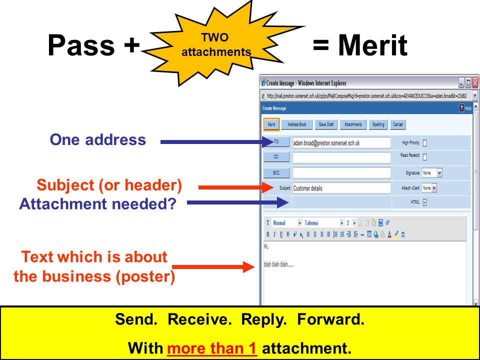 Pass + Send, or create, an email Send. Receive. Reply. Forward. With more than 1 attachment.