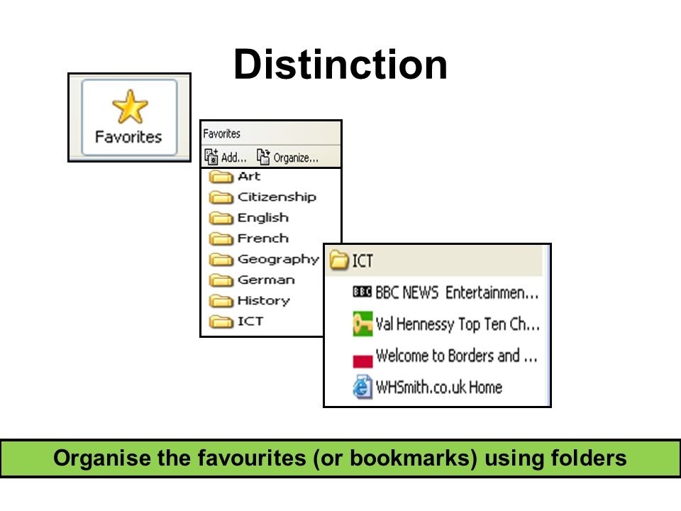 Distinction Organise the favourites (or bookmarks) using folders
