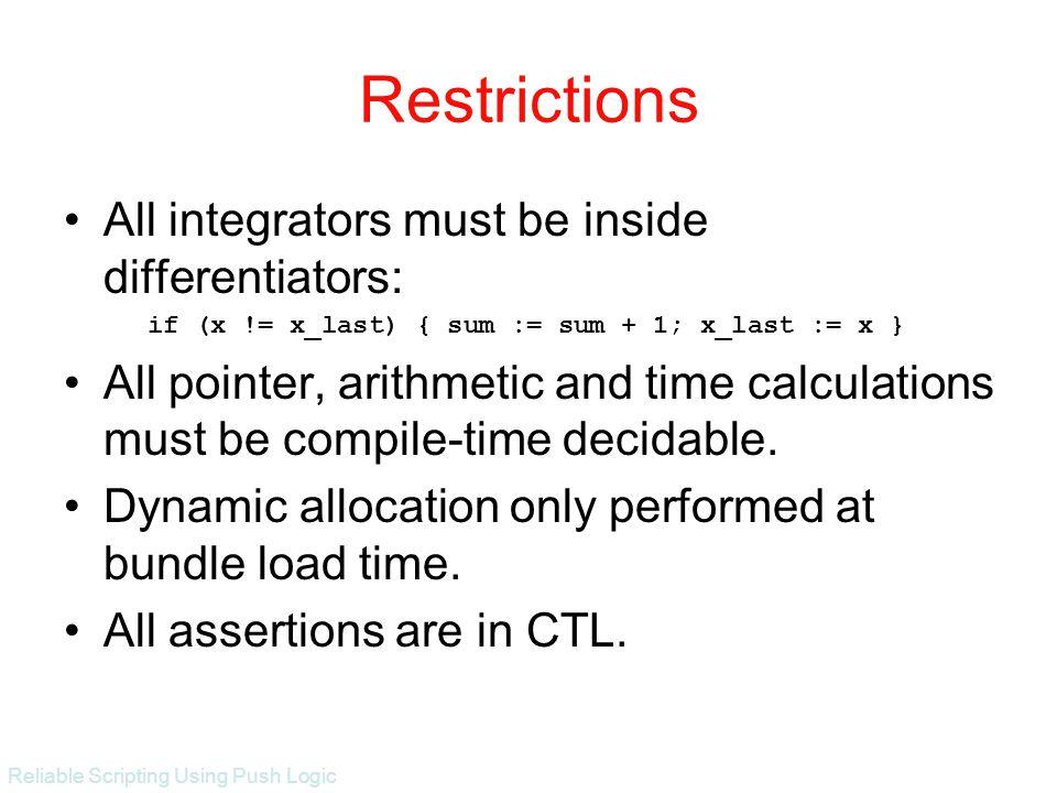 Reliable Scripting Using Push Logic Restrictions All integrators must be inside differentiators: if (x != x_last) { sum := sum + 1; x_last := x } All