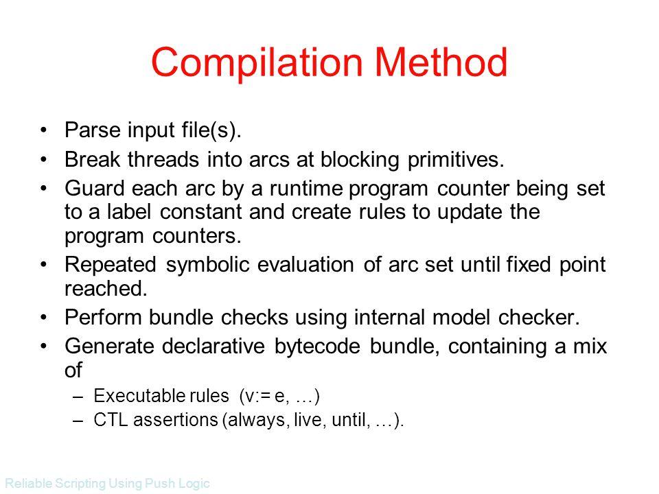 Reliable Scripting Using Push Logic Compilation Method Parse input file(s).