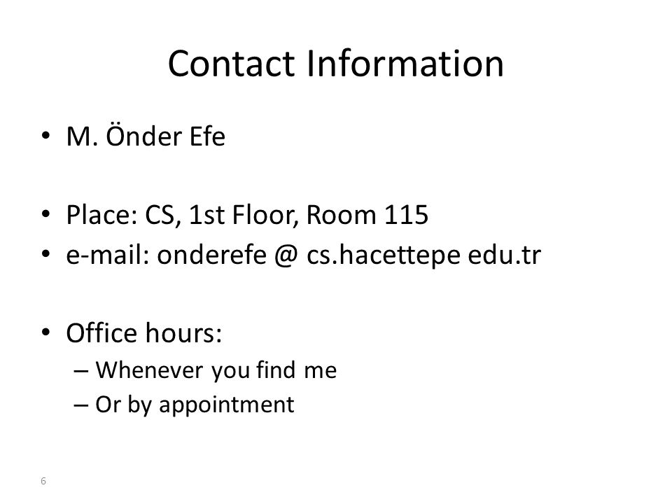 6 Contact Information M.