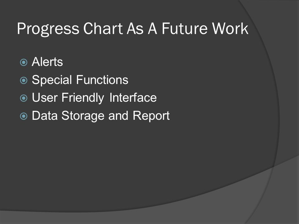 Progress Chart As A Future Work  Alerts  Special Functions  User Friendly Interface  Data Storage and Report
