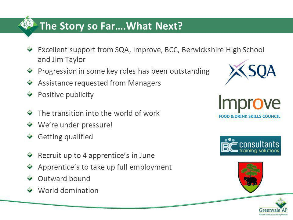 Excellent support from SQA, Improve, BCC, Berwickshire High School and Jim Taylor Progression in some key roles has been outstanding Assistance requested from Managers Positive publicity The transition into the world of work We're under pressure.