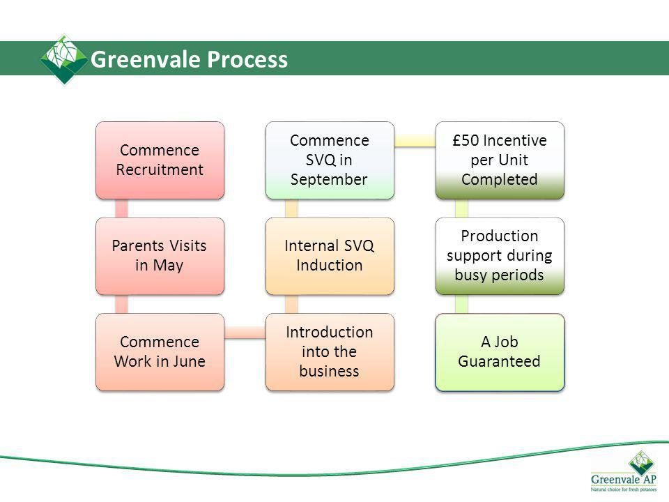 Greenvale Process Commence Recruitment Parents Visits in May Commence Work in June Introduction into the business Internal SVQ Induction Commence SVQ in September £50 Incentive per Unit Completed Production support during busy periods A Job Guaranteed