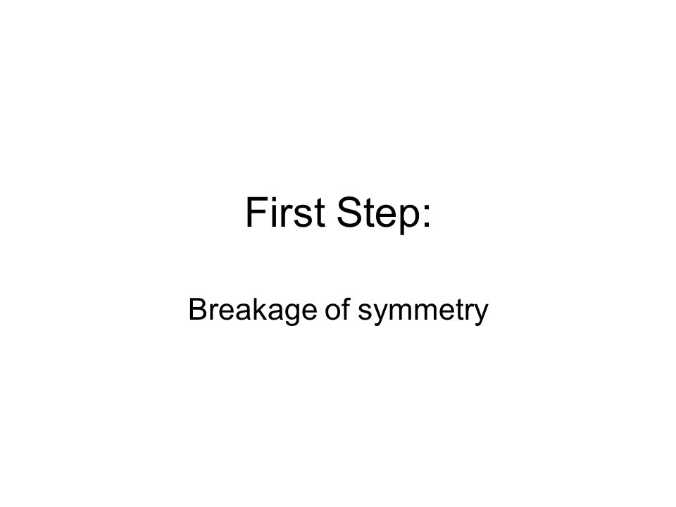 First Step: Breakage of symmetry