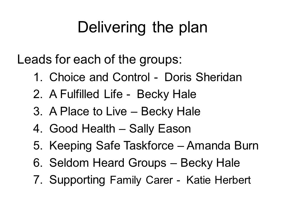 Delivering the plan Leads for each of the groups: 1.Choice and Control - Doris Sheridan 2.A Fulfilled Life - Becky Hale 3.A Place to Live – Becky Hale 4.Good Health – Sally Eason 5.Keeping Safe Taskforce – Amanda Burn 6.Seldom Heard Groups – Becky Hale 7.Supporting Family Carer - Katie Herbert