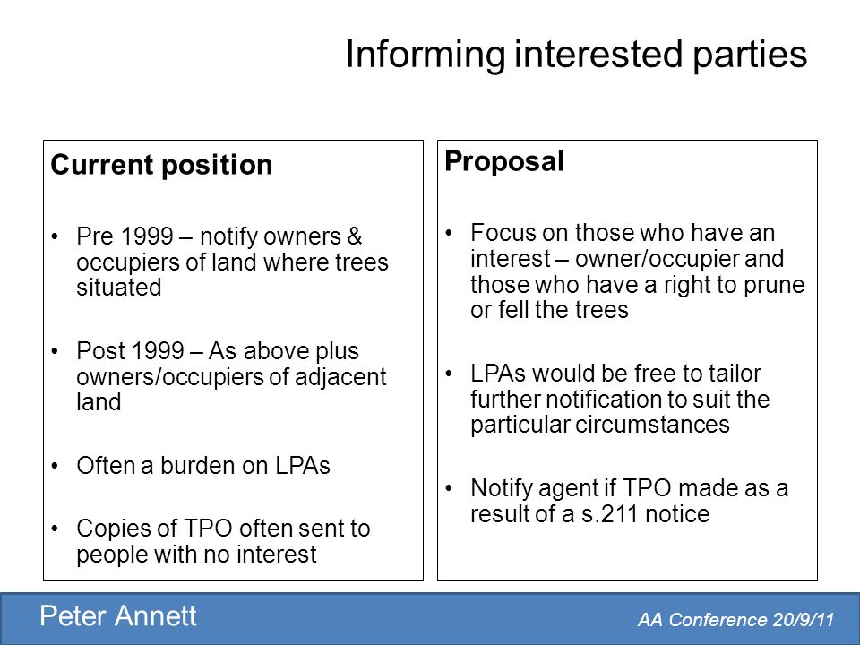 AA Conference 20/9/11 Peter Annett Informing interested parties Current position Pre 1999 – notify owners & occupiers of land where trees situated Post 1999 – As above plus owners/occupiers of adjacent land Often a burden on LPAs Copies of TPO often sent to people with no interest Proposal Focus on those who have an interest – owner/occupier and those who have a right to prune or fell the trees LPAs would be free to tailor further notification to suit the particular circumstances Notify agent if TPO made as a result of a s.211 notice