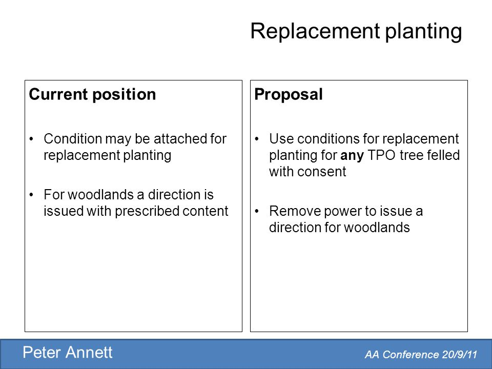AA Conference 20/9/11 Peter Annett Replacement planting Current position Condition may be attached for replacement planting For woodlands a direction is issued with prescribed content Proposal Use conditions for replacement planting for any TPO tree felled with consent Remove power to issue a direction for woodlands