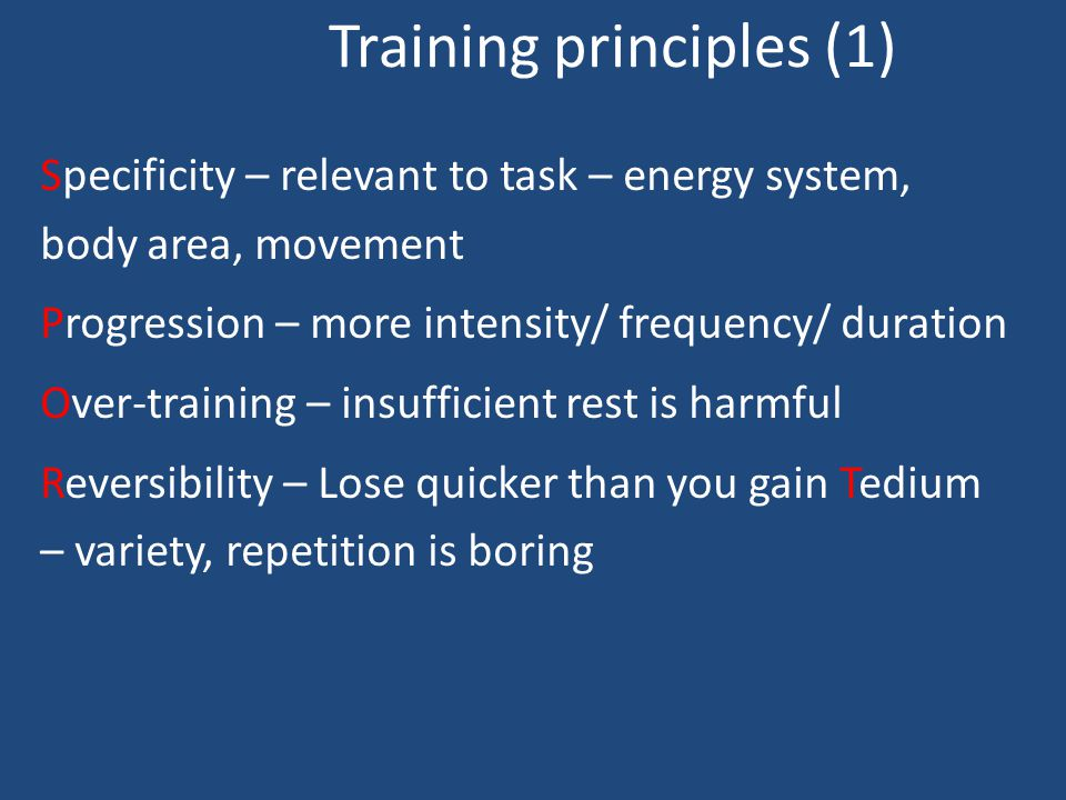 Fitness Training Considerations Performer's needs – base line Fitness components of activity Training principles Training methods Training year - majo