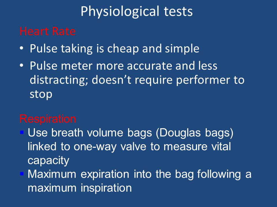 Direct and indirect tests Indirect involves estimating VO 2 max – by measuring heart rate Most concerned with cardio-respiratory endurance/stamina - V