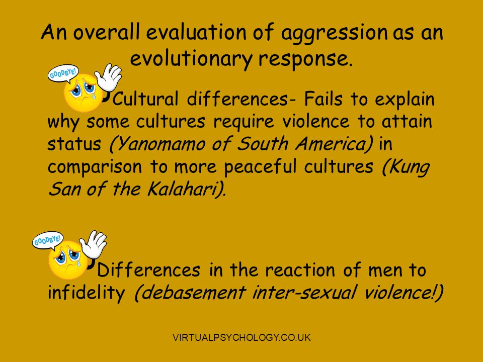 An overall evaluation of aggression as an evolutionary response. Cultural differences- Fails to explain why some cultures require violence to attain s