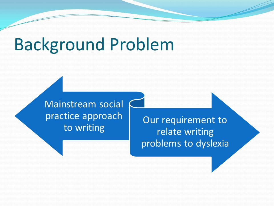 Background problem Between dilemmas of all student writers and dyslexia- related factors Intervening Interacting