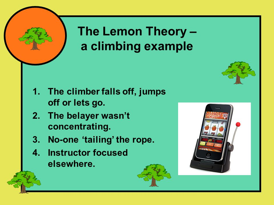 The Lemon Theory – a climbing example 1.The climber falls off, jumps off or lets go.