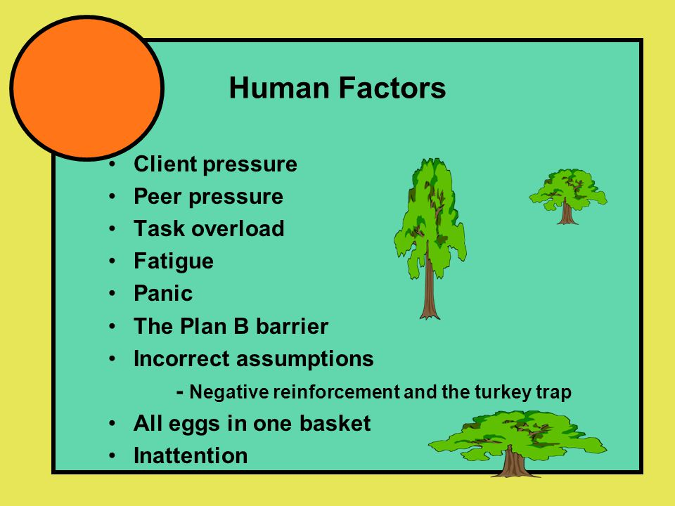 Human Factors Client pressure Peer pressure Task overload Fatigue Panic The Plan B barrier Incorrect assumptions - Negative reinforcement and the turkey trap All eggs in one basket Inattention